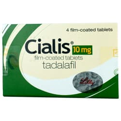 Pack of 4 Cialis 10mg tadalafil film-coated tablets