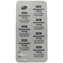 Back view of Atorvastatin 10mg tablet blister pack