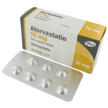 Box of Atorvastatin tablets with blister pack