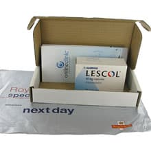 Box of Lescol treatment with patient leaflet
