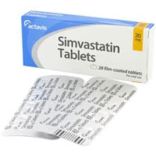 Box of Simvastatin oral tablets with blister strips