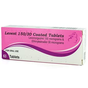 Pack of 63 Levest 150/30 levonorgestrel/ethinylestradiol coated tablets