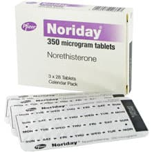 Box of Noriday contraceptive pills with blister pack