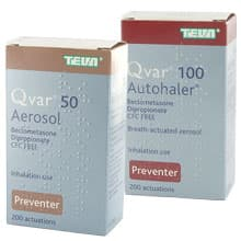 Image of a Qvar 50 and 100 Aerosol Autohale box
