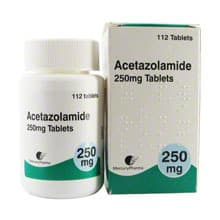 Box of Acetazolamide (Diamox) tablets with bottle