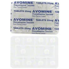 Front and rear view of Avomine 25mg tablet blister packs
