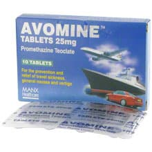 Box of Avomine travel sickness tablets with a blister strip