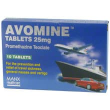 Pack of 10 Avomine 25mg promethazine teoclate tablets
