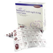 Box of Prempak-C tablets with blister packs